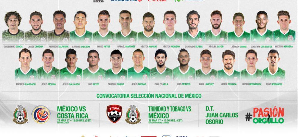 Convocados de México para el partido vs Honduras y El Salvador