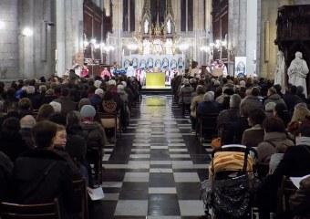 Photo prise lors de la célébration de l'ouverture de la porte sainte à la Cathédrale