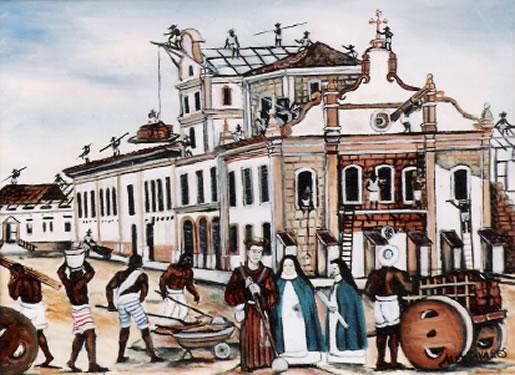 Pintura à óleo de Alex Tavares. Construção do Mosteiro da Luz.