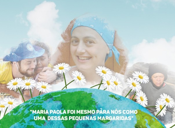 Arte com Maria Paola entre margaridas