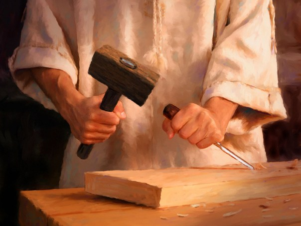 Jesus trabalha na carpintaria