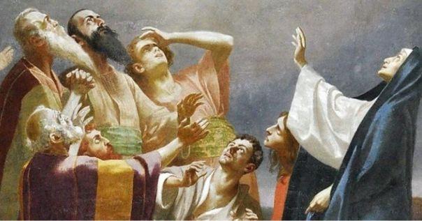 Imagem dos Apóstolos e Maria olhando para o alto