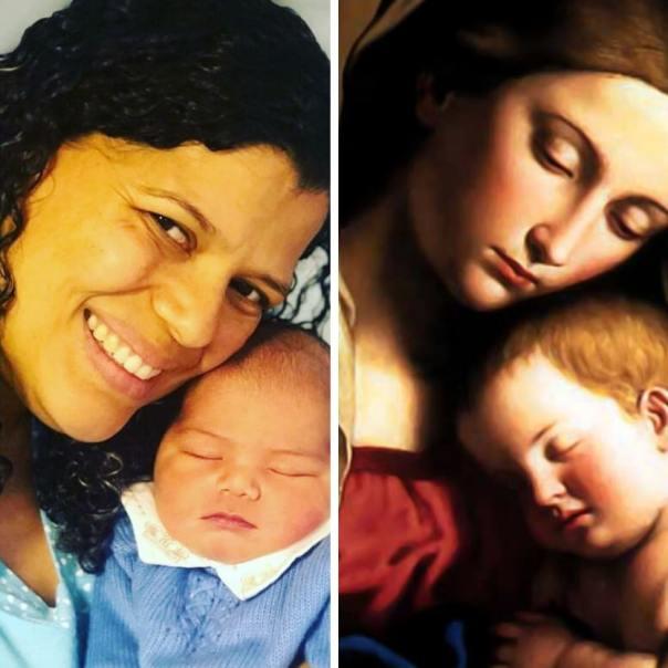 Mãe segura seu bebê