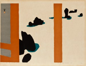 Kawanishi Hide, The Stone Garden, 1959, Color woodblock with blind stamping. Smart Museum of Art, The University of Chicago, Gift of Douglas Berman and Peter Daferner in honor of Richard A. Born, 2004.131.