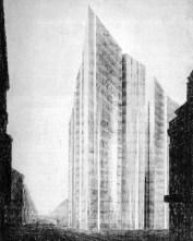 Friedrichstrasse Skyscraper Project, First scheme, 1921 Mies van der Rohe