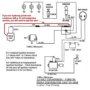 8n 12v conversion diagram for one wire, with a front
