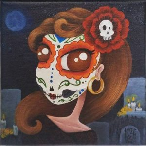 Mini Day of the Dead Girl.  6 x 6 Acrylic on Canvas. $70.00