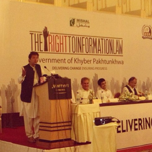 Chairman Pakistan Tehrik-e-Insaf, Imran Khan speaking at a MISHAL Pakistan seminar on the Right to Information Law of Khyber Paktunkha