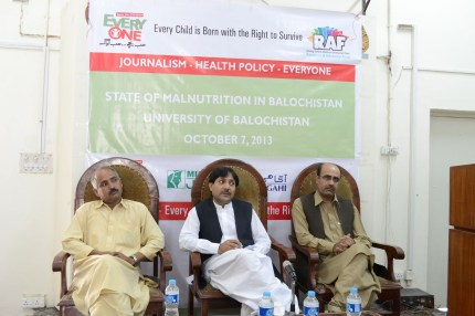 From left to right (Yousuf Masih, Chairman, Journalism and Mass Communication department, Balochistan University, Nasrullah Zerrey, MPA, Syed Ali Shah, Senior Journalist)