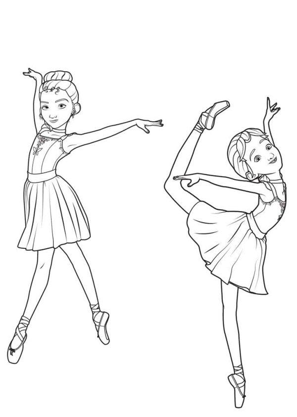 Раскраски Балерина Раскраски с танцующими балеринами для