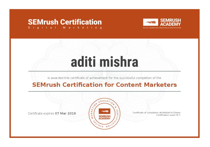 Digital Marketing Certification ~ SEMrush Content Marketers