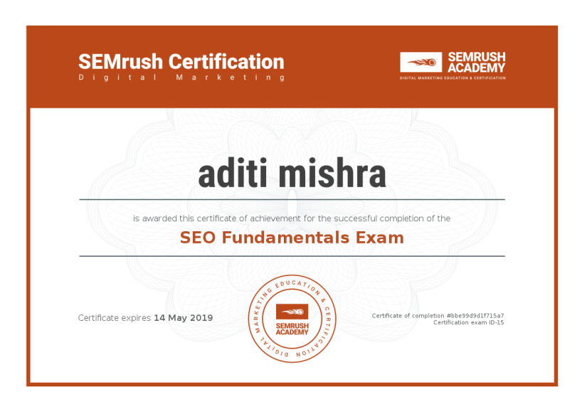 Digital Marketing Certification ~ SEMrush SEO Fundamentals