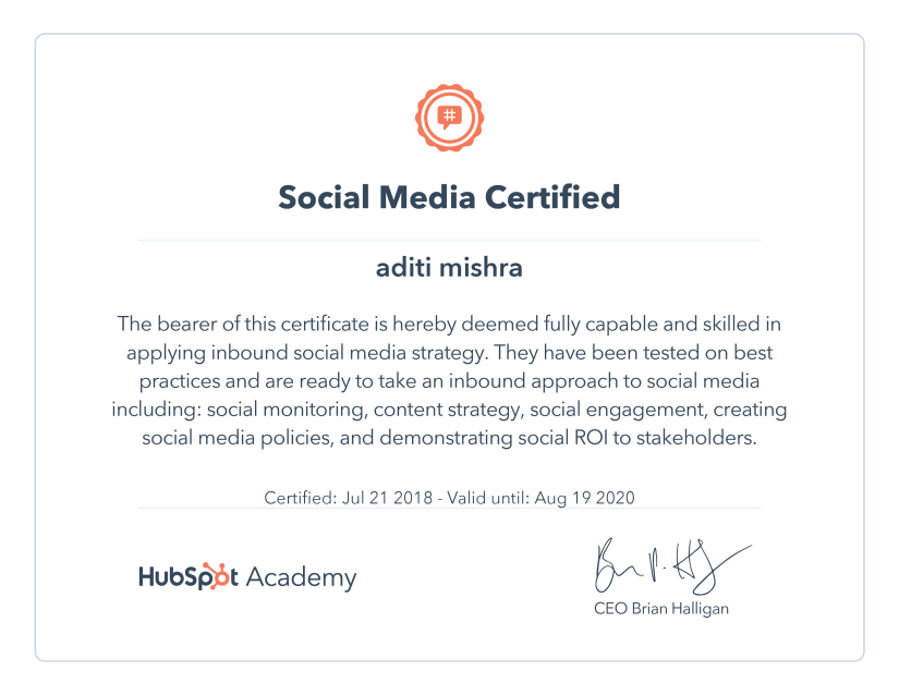 Digital Marketing Certification ~ HubSpot Social Media Certification