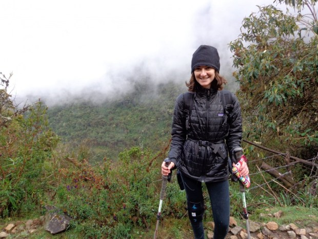 Wearing my Nano Puff while hiking in the cloud forest during the Salkantay Trek in Peru