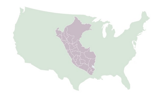 Map showing Peru inside the United States for scale