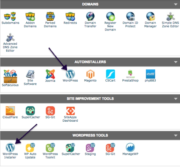 Screenshot showing how to connect WordPress to start a blog