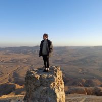 Standing on Camel Hill in Mitzpe Ramon, Israel