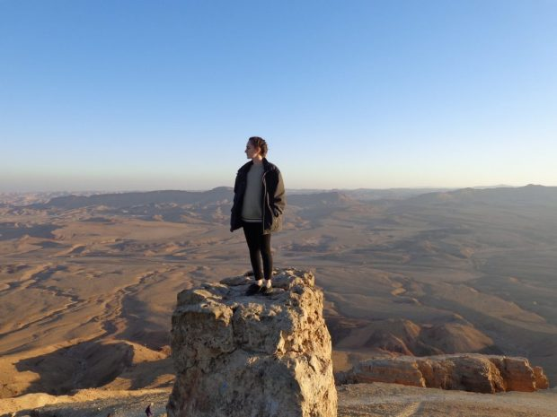 Standing on Camel Hill in Mitzpe Ramon, Israel