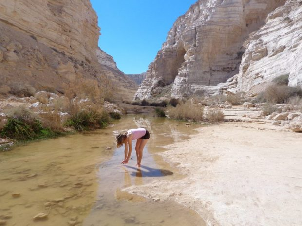 Hiking in an oasis in the desert in Israel