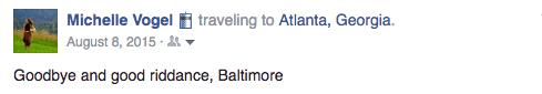 Screenshot of Facebook post saying goodbye to Baltimore