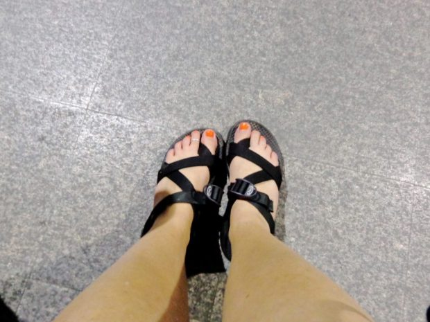 Foot selfie in Chacos in Bangkok