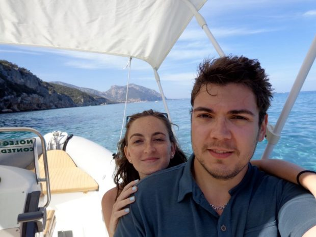 Us on our rented private boat in Gulfo di Orosei, Sardinia