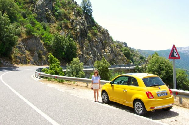 Our rented car for transport in Sardinia