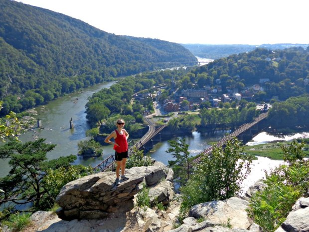 The view of Harpers Ferry from the main overlook of the hiking trail