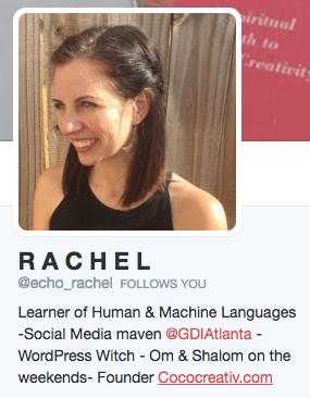 Rachel's Twitter bio