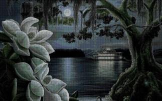 paisaje nocturno bordado a punto de cruz
