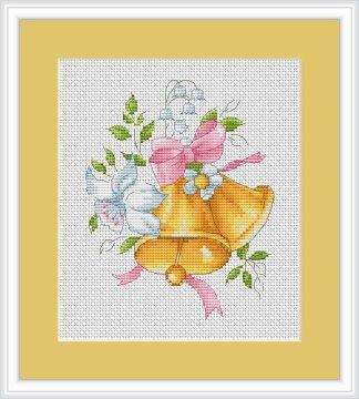 Kit de punto de cruz marca Luca-s, con gráfico, tela e hilos Anchor. Dibujo de campanas y flores.