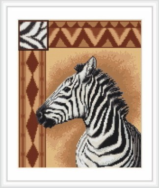 Kit de punto de cruz marca Luca-s, con gráfico, tela e hilos Anchor. Dibujo de cebra africana.