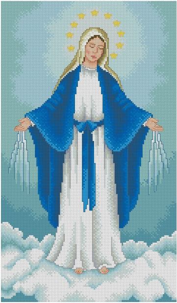 RELIMED-2: Gráfico de punto de cruz para descargar en PDF, imprimir y bordar Virgen Milagrosa