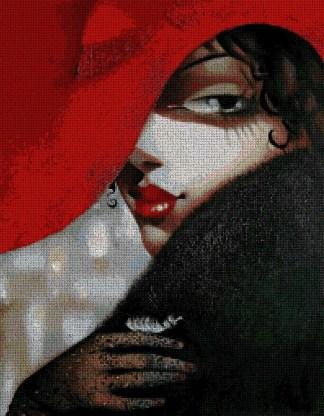 TSANT-1: Gráfico de punto de cruz para descargar en PDF y bordar cuadro de mujer con pamela roja