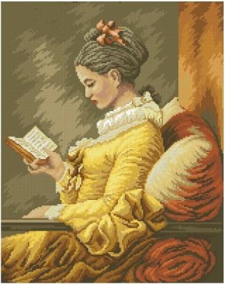 """ARMULEY: Gráfico de punto de cruz para descargar en PDF, imprimir y bordar cuadro de Fragonard """"muchacha leyendo"""""""