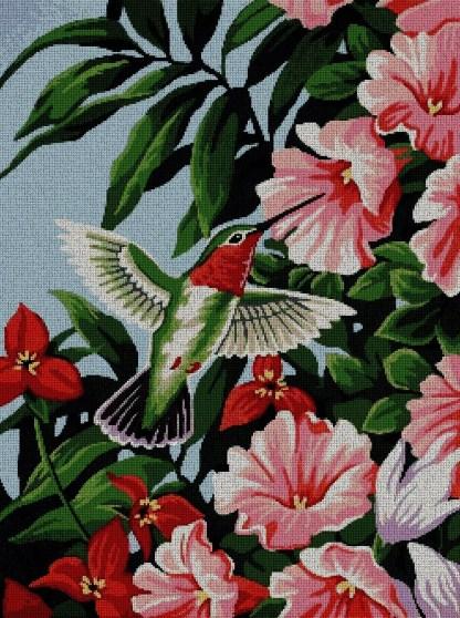 FLCOL-2: Gráfico de punto de cruz para descargar en PDF, imprimir y bordar dibujo de colibrí con flores