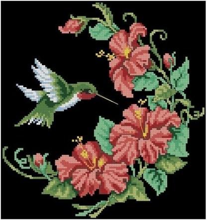 FLCOL-4: Gráfico de punto de cruz para descargar GRATIS en PDF por la compra de FLCOL, imprimir y bordar dibujo de colibrí con flores