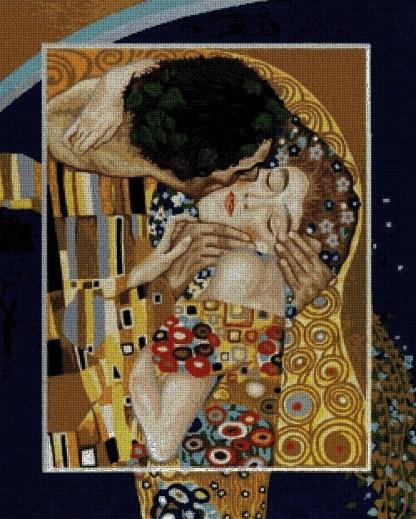 KLIMT-KIS: Gráfico de punto de cruz para descargar en PDF, imprimir y bordar dibujo basado en el cuadro de Gustav Klimt El beso
