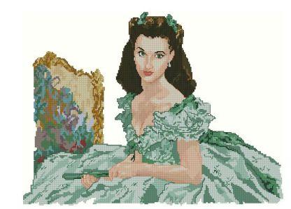 PEROHARA: Gráfico de punto de cruz para descargar GRATIS en PDF al comprar PERPLA, imprimir y bordar a Scarlett O'Hara (Lo que el viento se llevó)