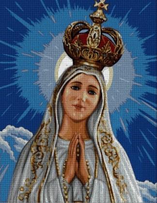 RELIFAT: Grafico de punto de cruz para descargar en PDF, imprimir y bordar Virgen de Fátima