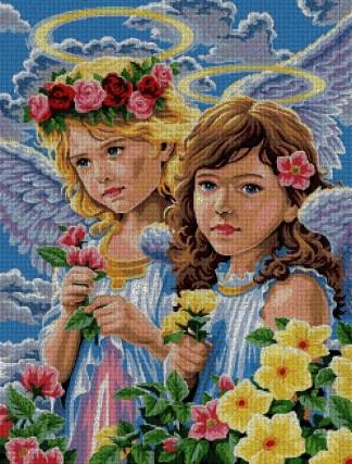 ANGFL-1: Gráfico de punto de cruz para descargar en PDF, imprimir y bordar dibujo de dos ángeles niñas entre flores