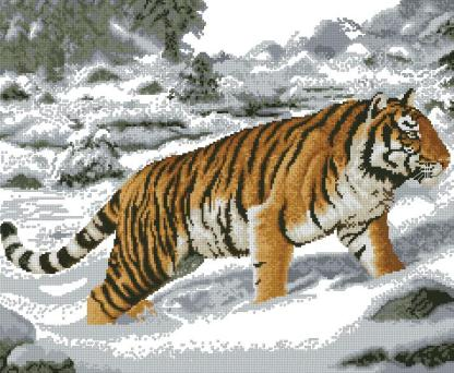 ANITIG-3: Gráfico de punto de cruz para descargar GRATIS en PDF al comprar ANITIG-2, imprimir y bordar tigre entre la nieve