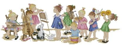 INFBANDA: Gráfico de punto de cruz para descargar en PDF, imprimir y bordar niños tocando en banda de música