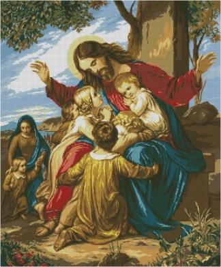 JESUSYN: Gráfico de punto de cruz para descargar GRATIS en PDF al comprar RELIJYNS, imprimir y bordar dibujo de Jesús Cristo rodeado de niños