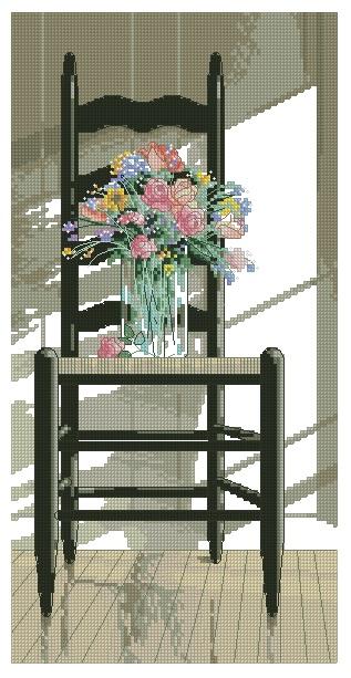 OBCHAIR-1: Gráfico de punto de cruz para descargar GRATIS en PDF con la compra de OBCHAT, imprimir y bordar silla con flores