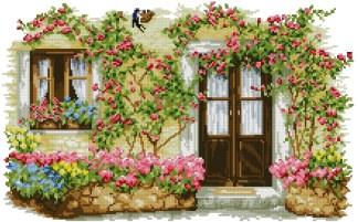 PAJDOOR: Gráfico de punto de cruz para descargar GRATIS en PDF con la compra de VARPOR, imprimir y bordar entrada a casa con flores y golondrina