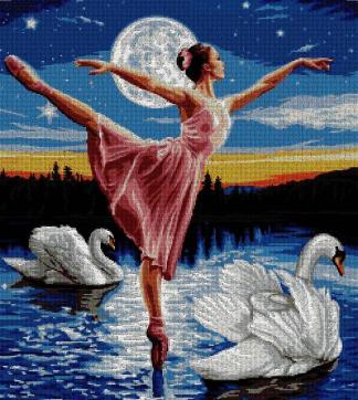 PERBALL-1: Gráfico de punto de cruz para descargar en PDF, imprimir y bordar bailarina en el lago de los cisnes