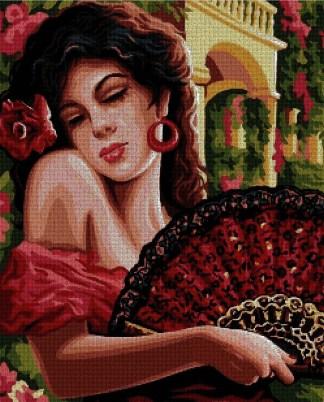 PERESPA: Gráfico de punto de cruz para descargar en PDF, imprimir y bordar dibujo de mujer española con vestido de flamenca