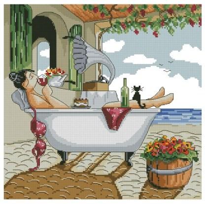 PEROFF: Gráfico de punto de cruz para descargar en PDF, imprimir y bordar cuadro de Ronald West con mujer relajada en el baño