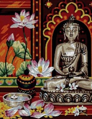 RELIBUDA: Gráfico de punto de cruz para descargar en PDF, imprimir y bordar dibujo de Buda